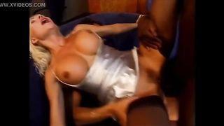 Beautiful Blonde Helen Duval Hard DP, Big Black and White Cock